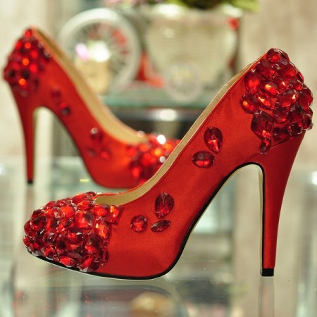 Bridal High Heel Red Shoes For Women